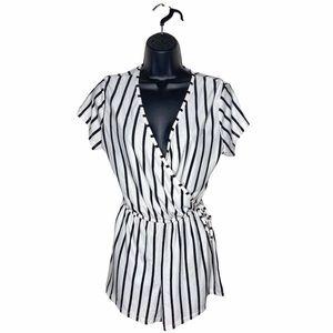 3/$25 J for Justify Short Sleeve Romper Black Wht